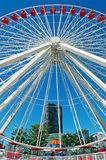 Chicago Navy Pier and Ferris Wheel with carousel and skyline Royalty Free Stock Photography
