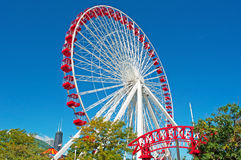 Chicago Navy Pier and Ferris Wheel with carousel and skyline Stock Images