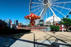 Chicago Navy Pier with ferris wheel stock photos