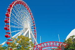 Chicago Navy Pier with Ferris Wheel in Near North Side community area, Michigan Lake shoreline Royalty Free Stock Images