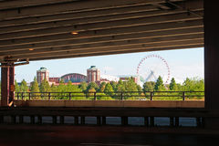 Chicago Navy Pier and Ferris Wheel seen from movable bridge in Near North Side community area Royalty Free Stock Images