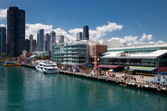 Chicago Navy Pier on Sunny Day Stock Photos
