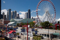 Chicago Navy Pier on Sunny Day Stock Photo