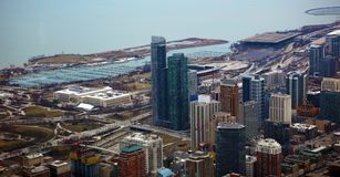 Chicago near south side, marina and lake Michigan view from sky. Royalty Free Stock Image