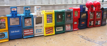 Chicago news paper stand Stock Images