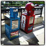 Chicago news paper stand. Row of chicago news paper stand Stock Image