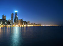 Chicago Night. Lake Michigan and tall Chicago towers in evening light Royalty Free Stock Image