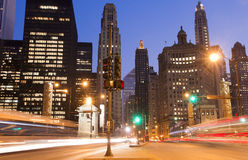 Chicago at night. Downtown Chicago at night time royalty free stock image