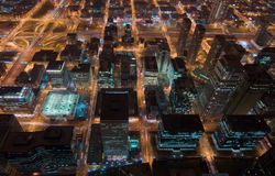 Chicago at night. Aerial view of downtown Chicago at night royalty free stock photography