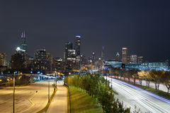 Chicago at night. Image of Chicago skyline at night stock images