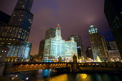 Chicago at night Stock Image