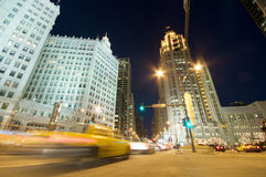 Chicago at Night. Traffic on Michigan Avenue in Chicago Royalty Free Stock Photography