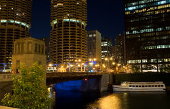 Chicago at night. IL, USA Stock Photos