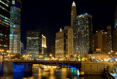 Chicago at night. IL, USA Royalty Free Stock Images