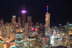 Chicago night aerial view Stock Images