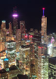 Chicago night aerial view Stock Image