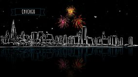 Chicago by Night with Firework Intro Animation stock video footage
