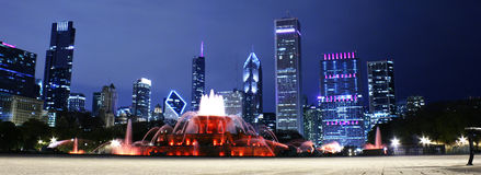 Chicago night landscape. Chicago panorama from grant park royalty free stock photo