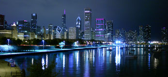 Chicago night landscape. From Museum Campus royalty free stock images
