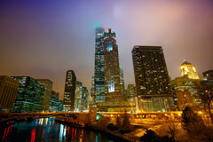 Chicago at night and mist Royalty Free Stock Photo