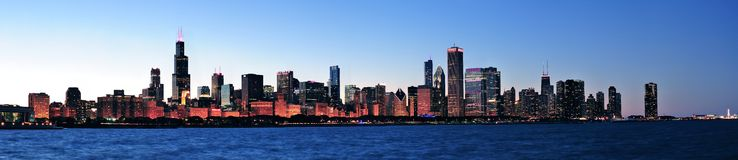 Chicago night panorama Royalty Free Stock Photos
