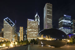 Chicago night scene Royalty Free Stock Images