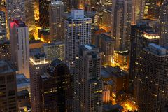 Chicago at Night Scenery. Downtown Chicago After Dark, Illinois, USA. American Cityscapes Photo Collection Stock Photos