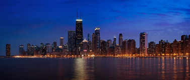 Chicago night skyline. Royalty Free Stock Image