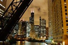 Chicago Night skyline stock images