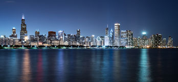 Chicago Night Skyline. Across Lake Michigan Royalty Free Stock Photo
