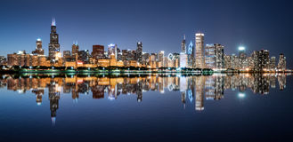 Chicago Night Skyline stock images