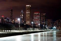 Chicago Night Skyline Stock Photography