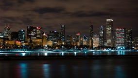 Chicago Night Skyline Royalty Free Stock Photos