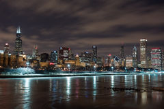 Chicago Night Skyline Royalty Free Stock Photography