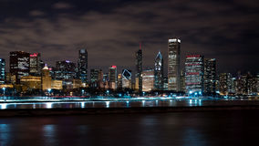 Chicago Night Skyline Royalty Free Stock Photo