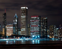 Chicago Night Skyline Royalty Free Stock Photos