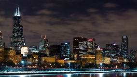 Chicago Night Skyline Stock Photography