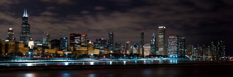 Chicago Night Skyline Stock Photos