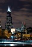 Chicago Night Skyline Royalty Free Stock Image