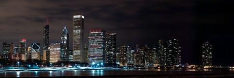 Chicago Night Skyline Royalty Free Stock Photography