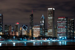 Chicago Night Skyline Royalty Free Stock Images