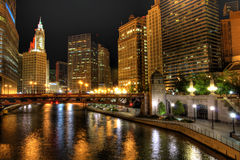 Chicago Night Skyline. Chicago downtown from the Chicago River at night Stock Photos