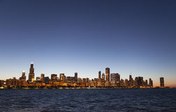 Chicago night skyline Stock Image