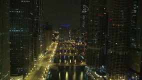 Chicago night storm timelapse stock video