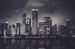 Chicago Night Time Skyline Stock Photos