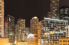 Chicago at Night. Chicago, USA - May 25, 2014: Buildings in Chicago at night with lots of bright lights Stock Photography