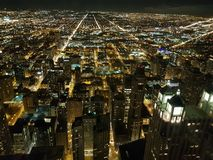 Chicago in night view on downtown from sky stock images