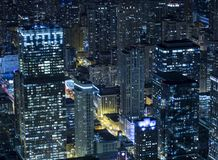 Chicago at night from Willis Tower. Taken from the Skydeck at Willis Tower, over 1300 feet above Chicago, this shot shows the vibrant city at night Royalty Free Stock Photo