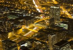 Chicago at night from Willis Tower. Taken from the Skydeck at Willis Tower, over 1300 feet above Chicago, this shot shows the vibrant city at night Stock Images