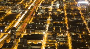 Chicago at night from Willis Tower. Taken from the Skydeck at Willis Tower, over 1300 feet above Chicago, this shot shows the vibrant city at night Stock Image